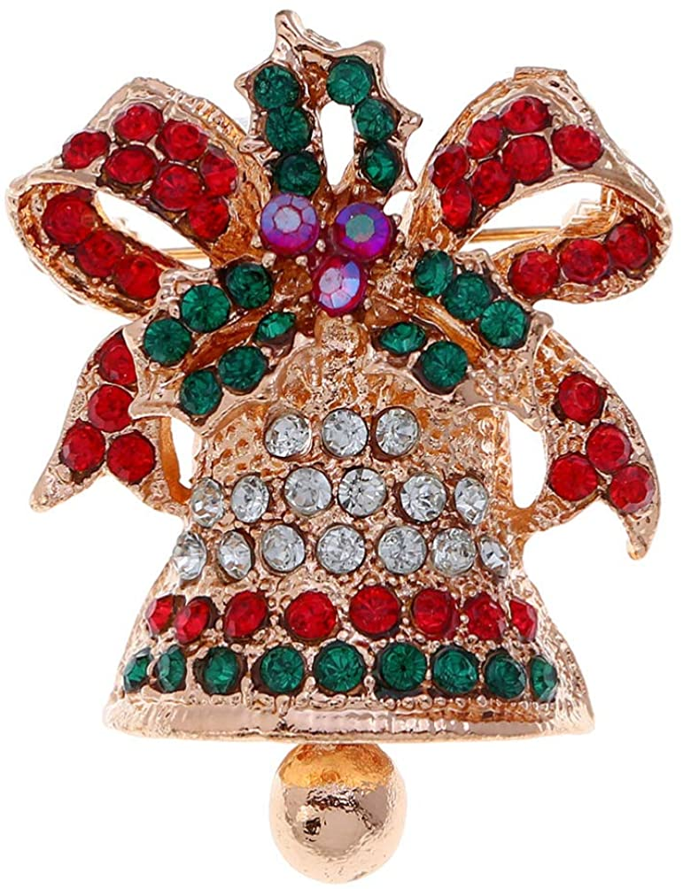 Holibanna Christmas Bell Brooch Rhinestone Clothes Brooch Bow Brooch Pins Shawl Brooch Novelty Pins for Woman Party Festive (Golden)