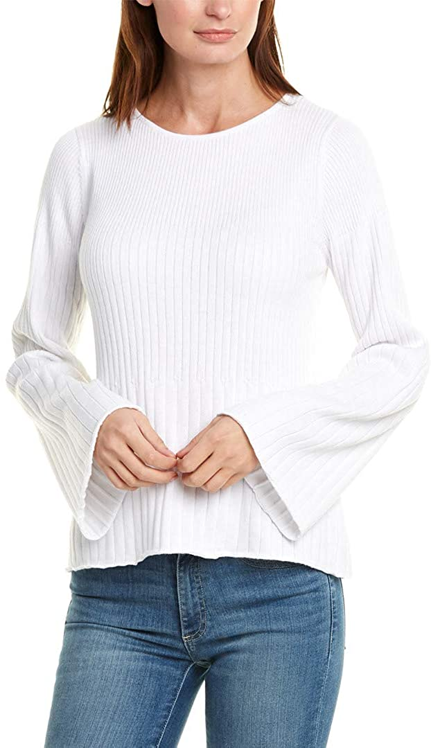 Michael Stars Women's Madaline Ribbed Knit Long Sleeve Boat Neck Swing Pullover Sweater