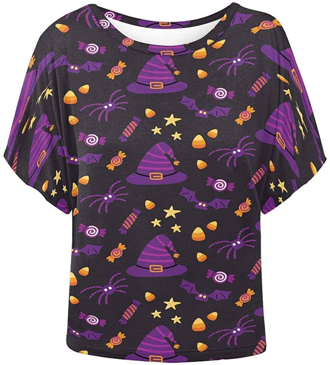 INTERESTPRINT Women O Neck Blouse Halloween Candy Bat Wing Top Shirt