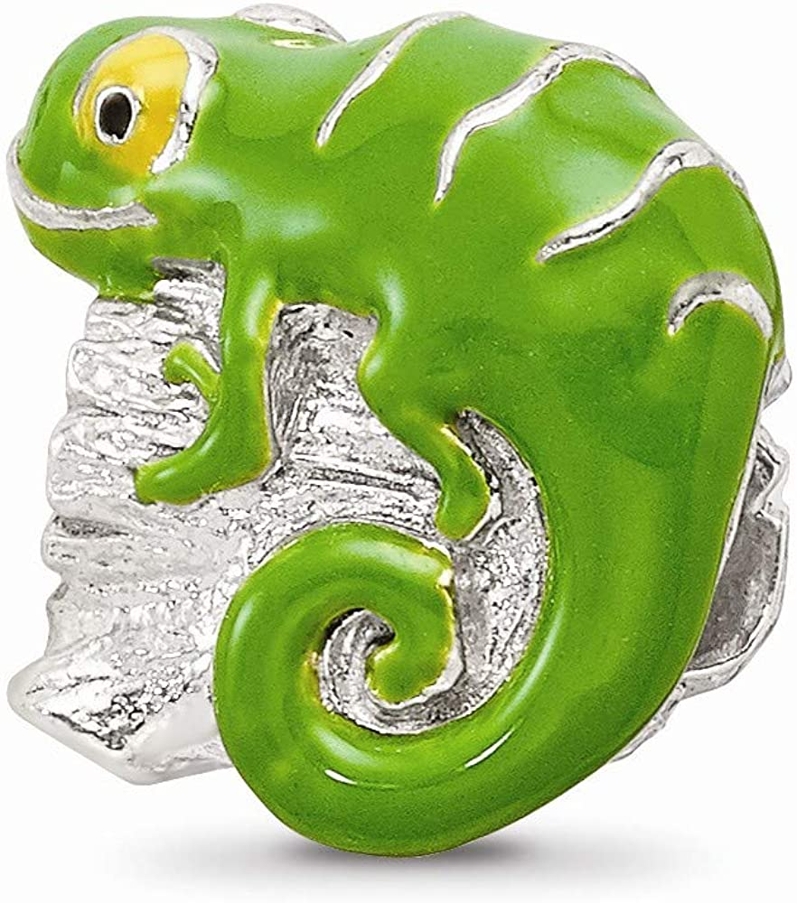 925 Sterling Silver Charm For Bracelet Enameled Lizard On Log Bead Animal Fine Jewelry For Women Gifts For Her