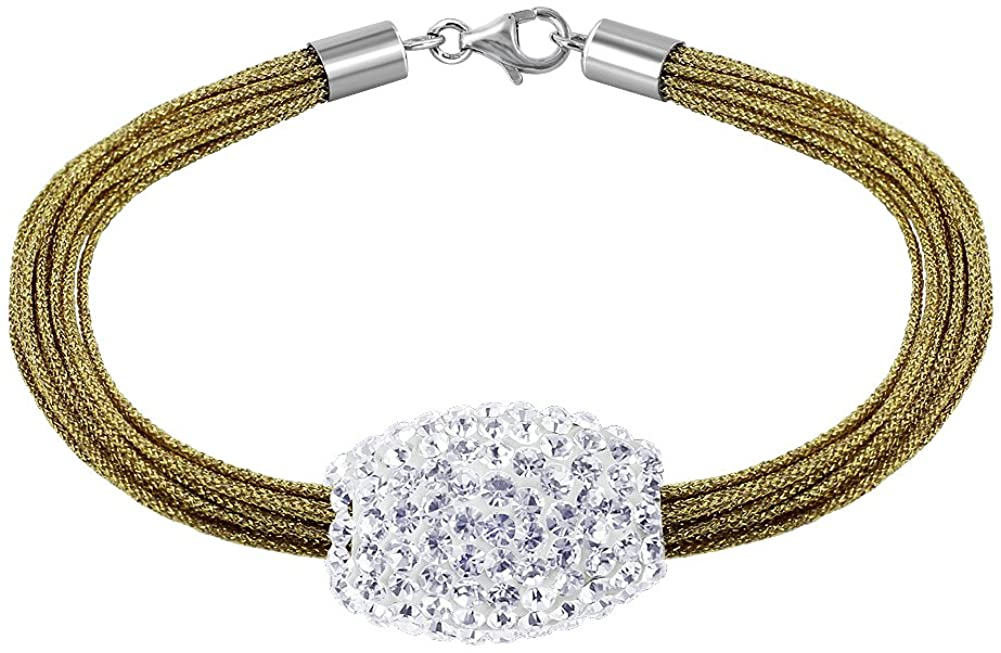 Gem Avenue 925 Sterling Silver Studded Barrel Bracelet with Shimmering Silk Strands 13 x 20mm