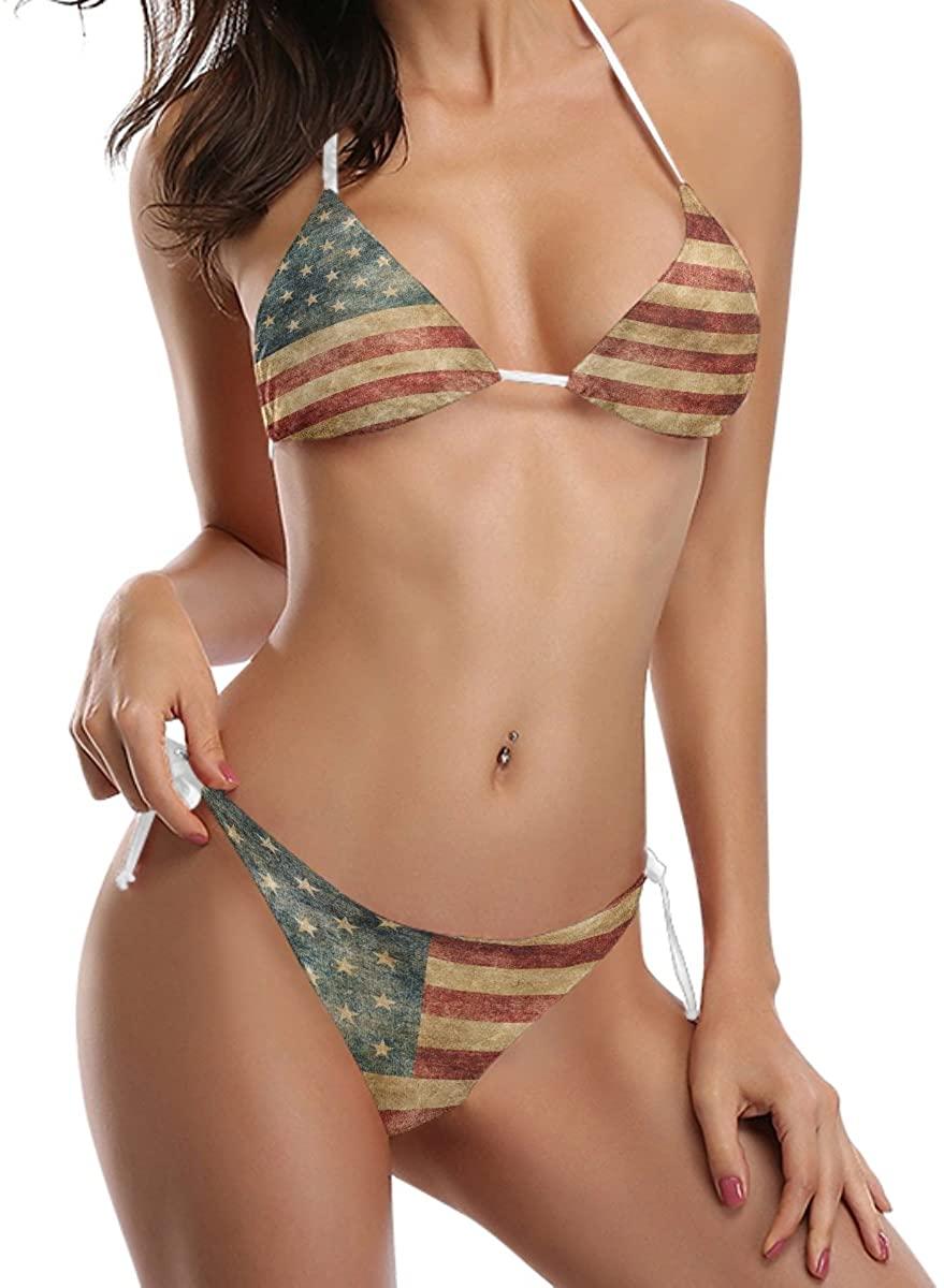 ALAZA Retro American Flag 2 Piece Swimsuits Bathing Bikini Sets for Women
