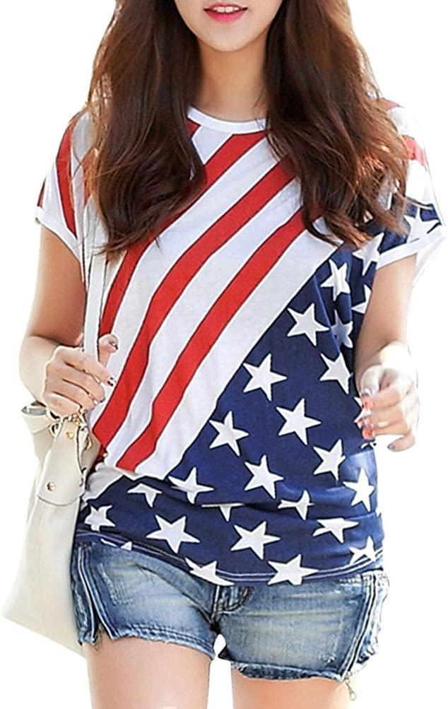 Womens American Flag Print Short Sleeve Crew Neck Casual T Shirt Top Blouse