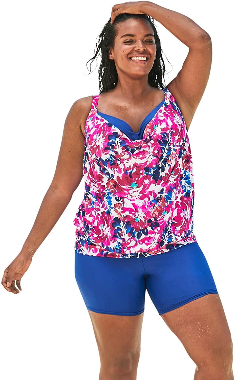 Women's Plus Size Two-in-One Blouson Tankini Top