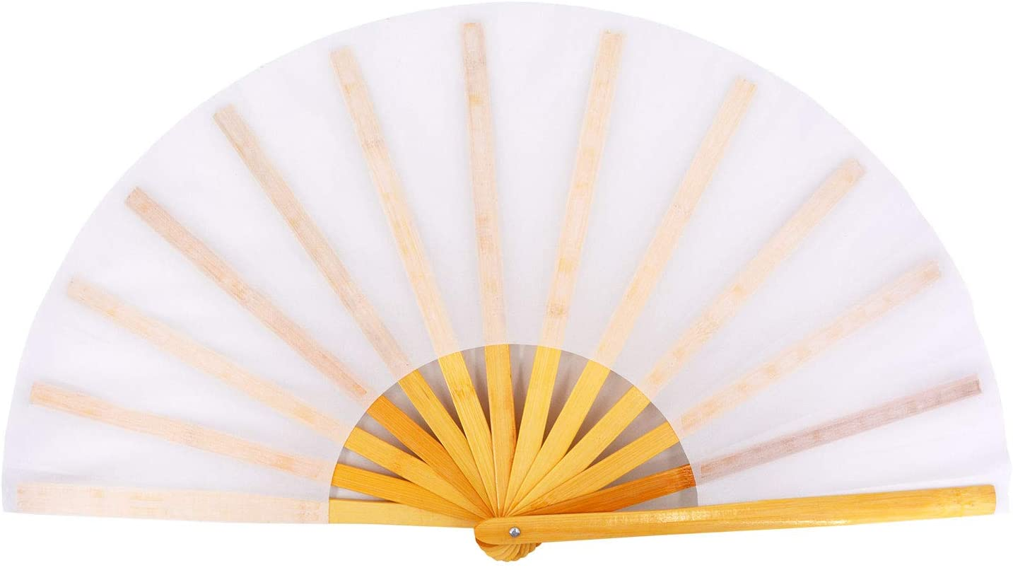 Amajiji Large Folding Hand Rave Fan for Women/Men, Chinease/Japanese Bamboo and Nylon-Cloth Folding Hand Fan for Performance, Festival, Events, Gift, Craft, Dance, Decorations (White)