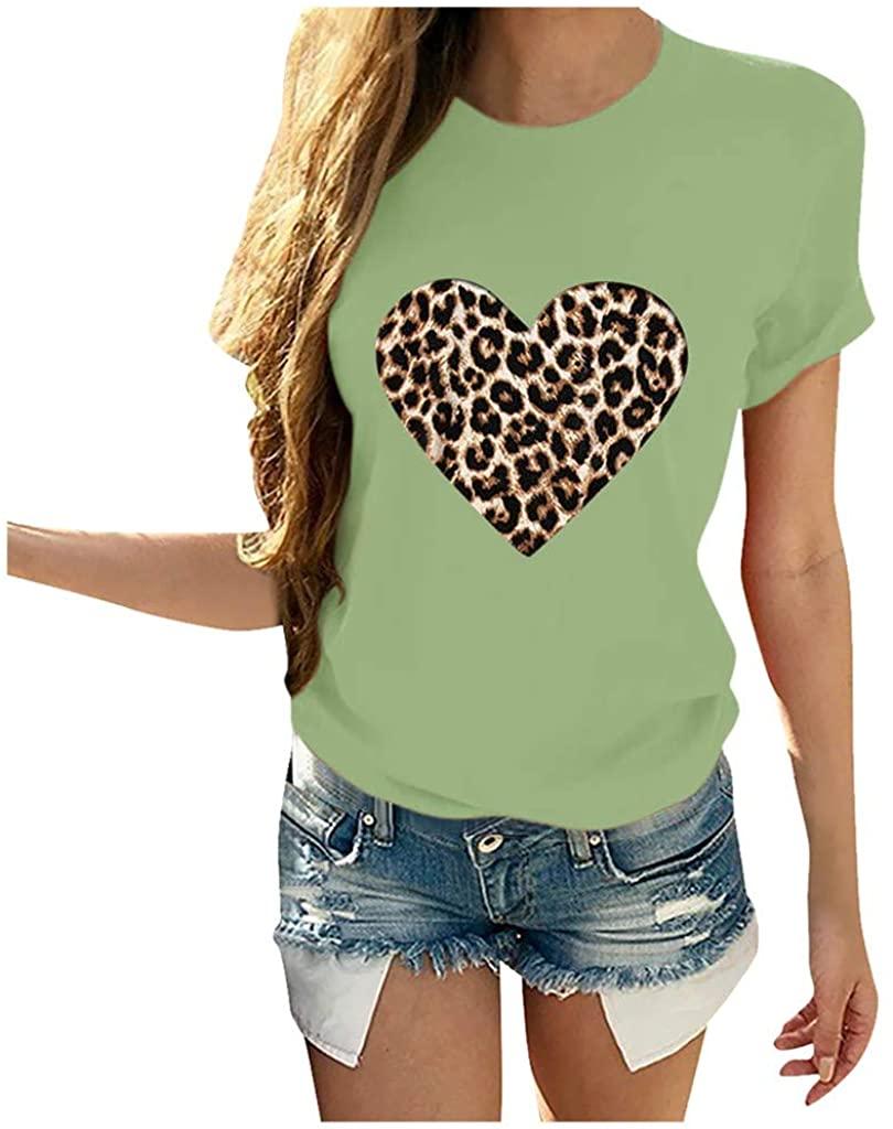 Women Short Sleeve Tops, Womens Comfy Leopard Stripe Print Cotton Tunic Top Shirt Casual Tees Pullover Blouse T Shirt