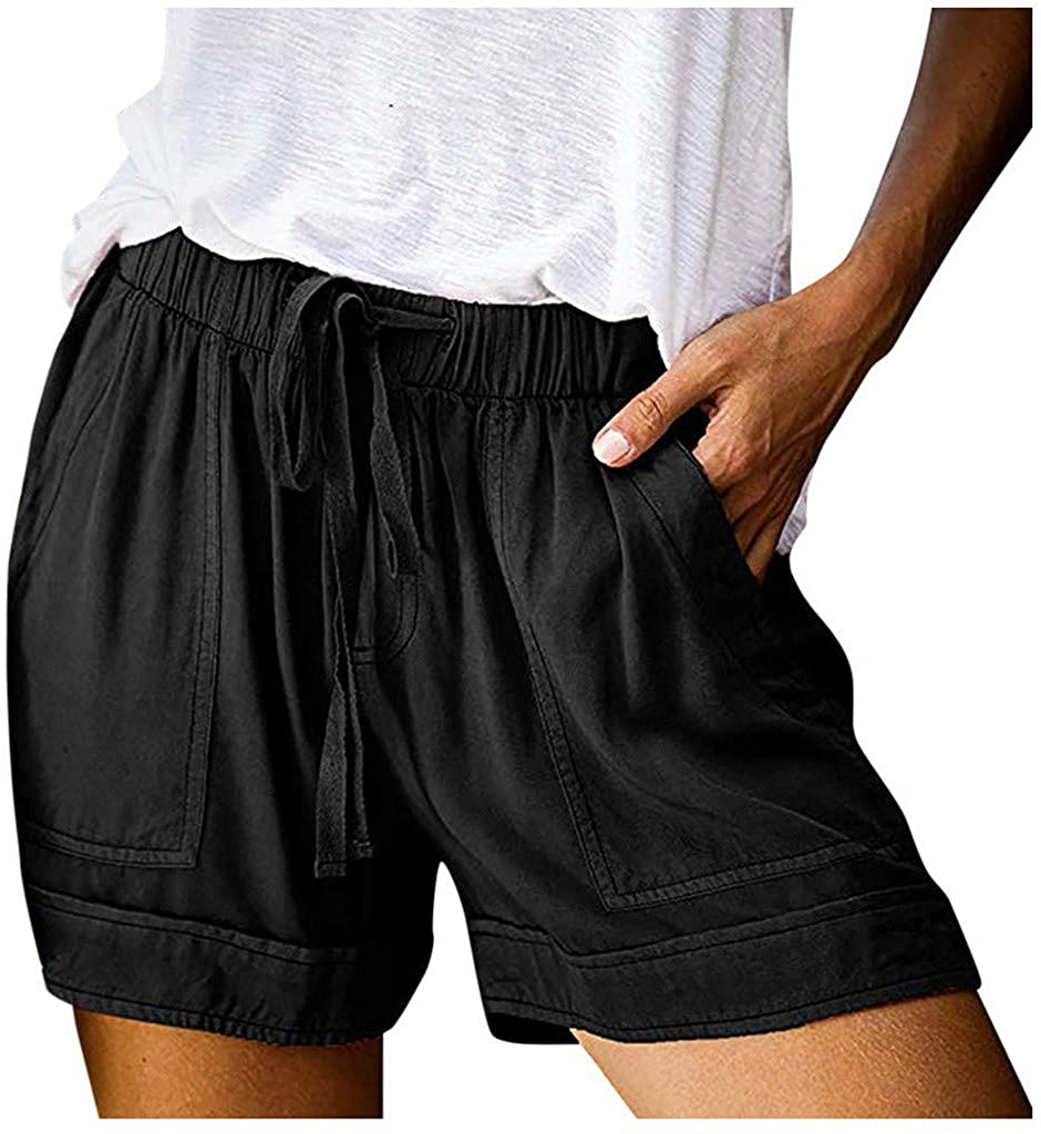 Hessimy Womens Summer Shorts with Pockets,Women's Elastic Waist Casual Comfy Cotton Beach Shorts with Drawstring Black