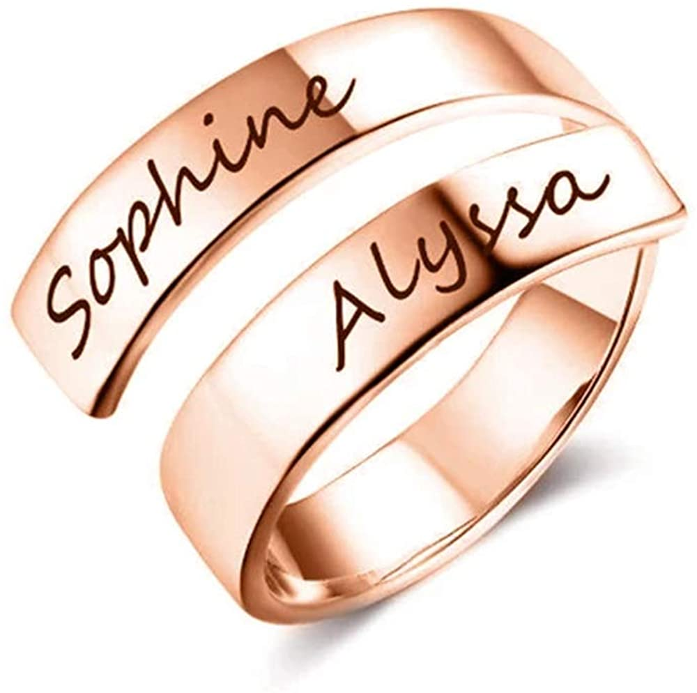 925 Sterling Silver Personalized Spiral Twist Ring Engraved Names BFF Custom Gift Promise Ring for Her