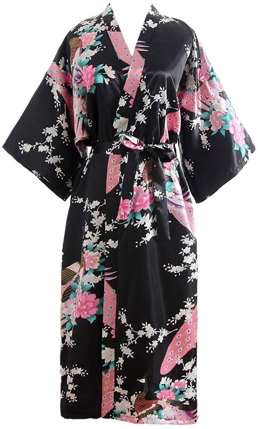 FAIRY COUPLE Women's Kimono Robe Peacock Blossoms Printed Nightgown Sleepwear Chest 50