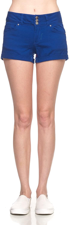 Calilogo Womens Juniors Fashion Denim Jean Stretchy Shorts Regular and Plus Sizes