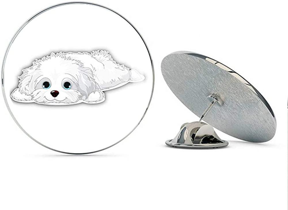 TG Graphics Cute Havanese Puppy Art Round Metal Lapel Pins Cute Cool Hat Shirt Pin Tie Tack Pinback