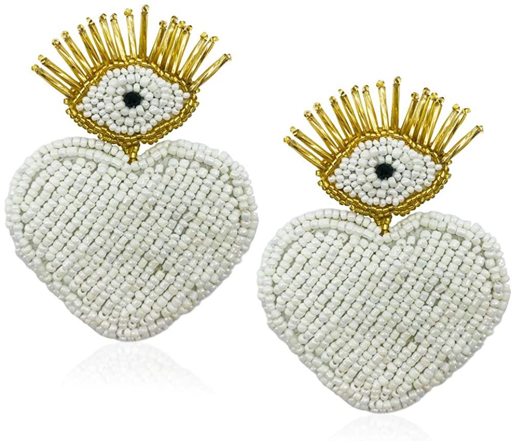 Statement Drop Earrings - Bohemian Beaded Big Heart Dangle Earrings Gift for Women