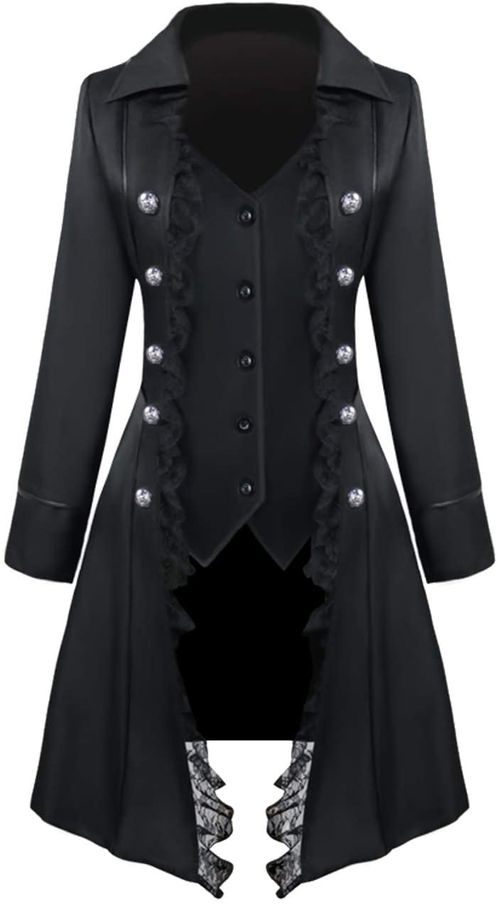 Womens lace Steampunk Thin Jacket Casual Jackets Retro Victorian Punk Women Medieval Jacket Coat, Thin-black, XX-Large