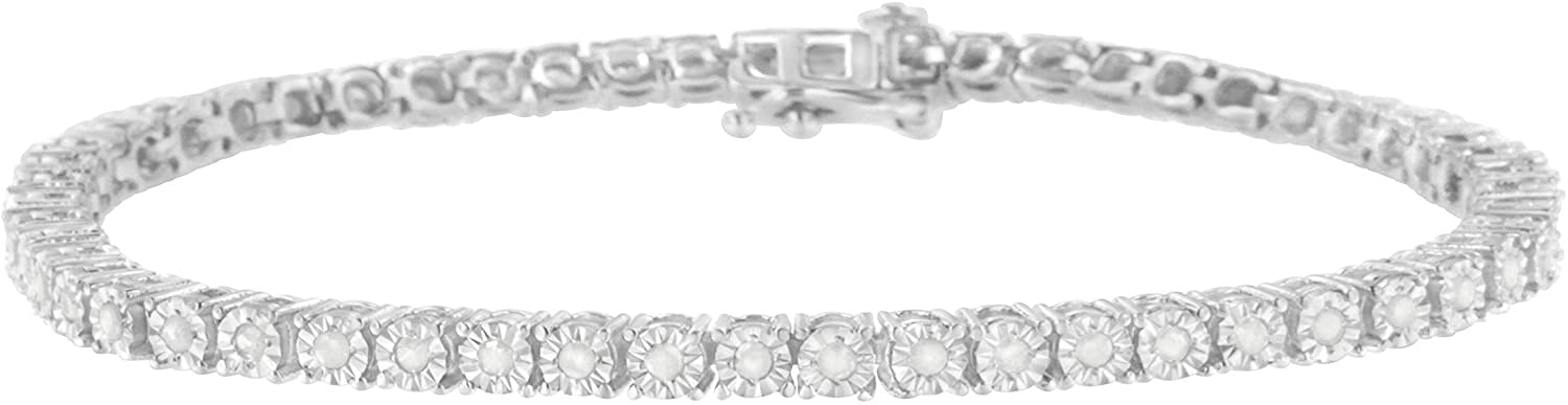 .925 Sterling Silver Miracle-Set Diamond Round Miracle Plate Tennis Bracelet (I-J Color, I3 Clarity) - Choice of Carat Weights and Size