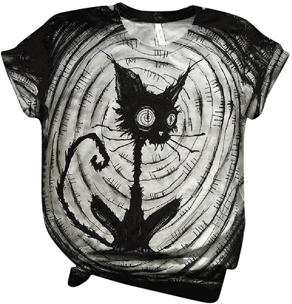 POLLYANNA KEONG Halloween Shirts, Women Short Sleeve Halloween Printed T Shirt O-Neck Tops Tees Shirt Blouse