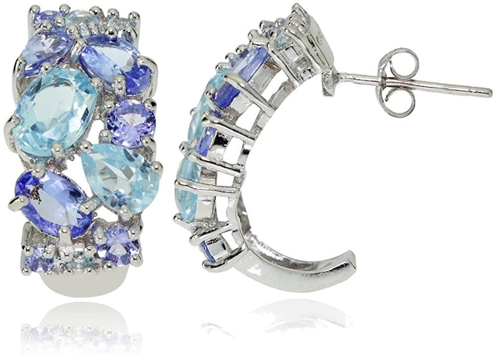 Sterling Silver Tanzanite and Blue Topaz Tonal Cluster Half Hoop Earrings