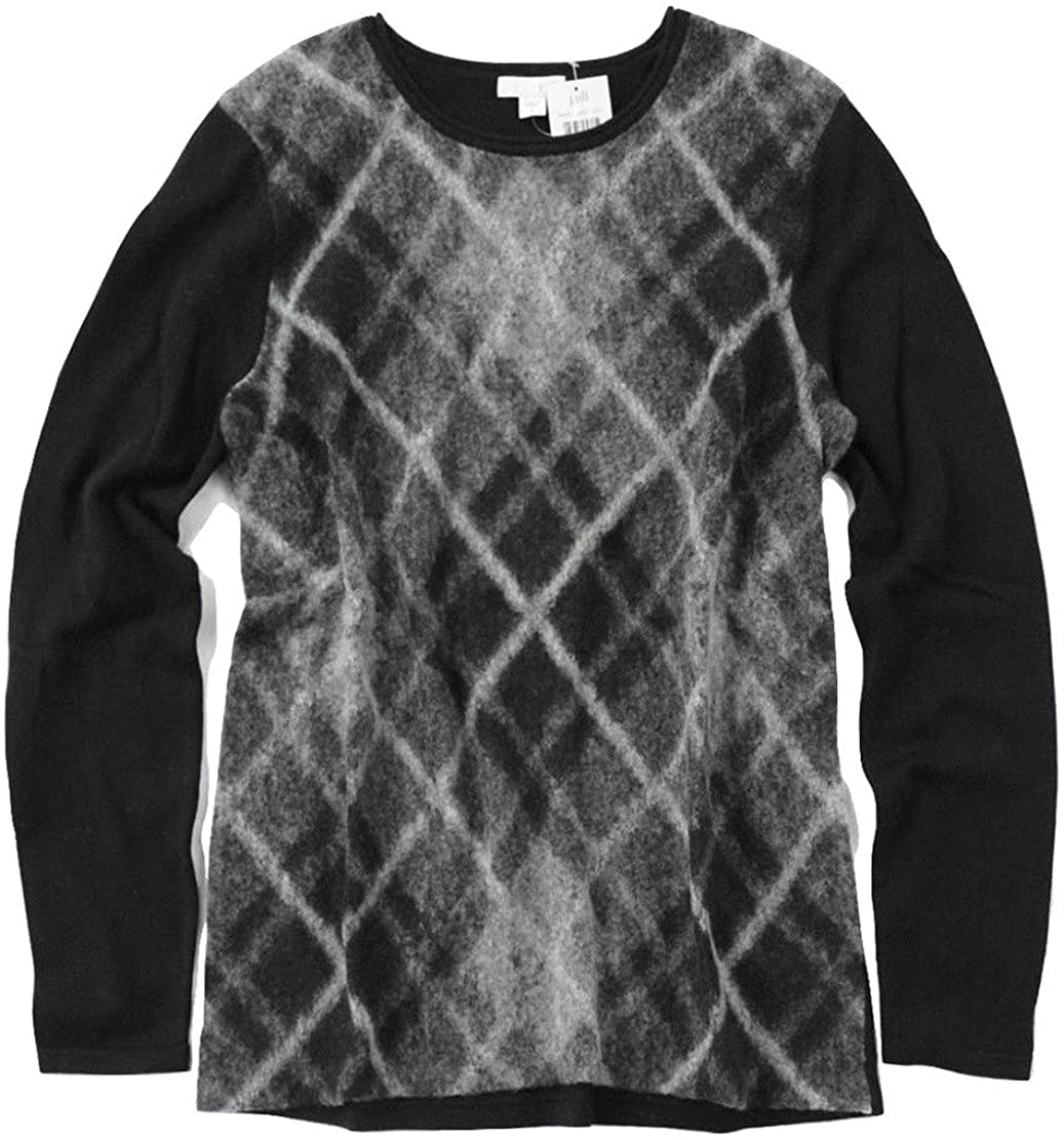 J.Jill Women's Brushed Plaid Wool/Cotton Crew Sweater