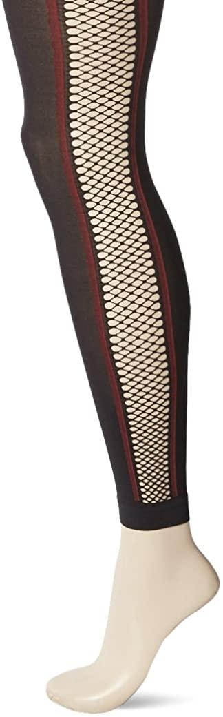 HUE Women's Fishnet Stripe Footless Tights, black, M/L