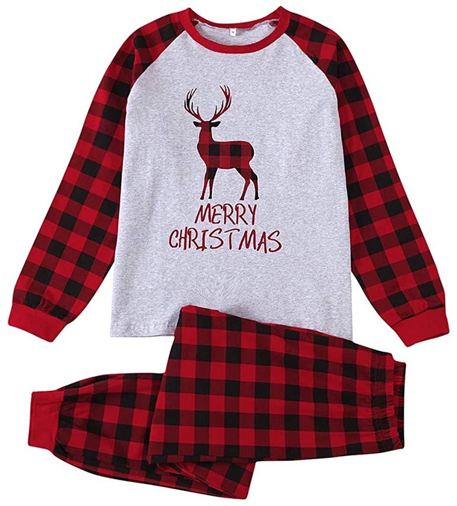 PURSUE Matching Family Pajamas Sets Christmas PJ's with Deer and Plaid Printed Long Sleeve Tee and Pants Loungewear