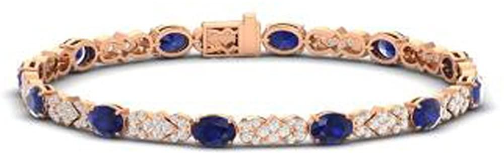 TrioStar 8.26 CT Oval Cut Blue Sapphire 14k Rose Gold Plated Tennis Bracelets 7