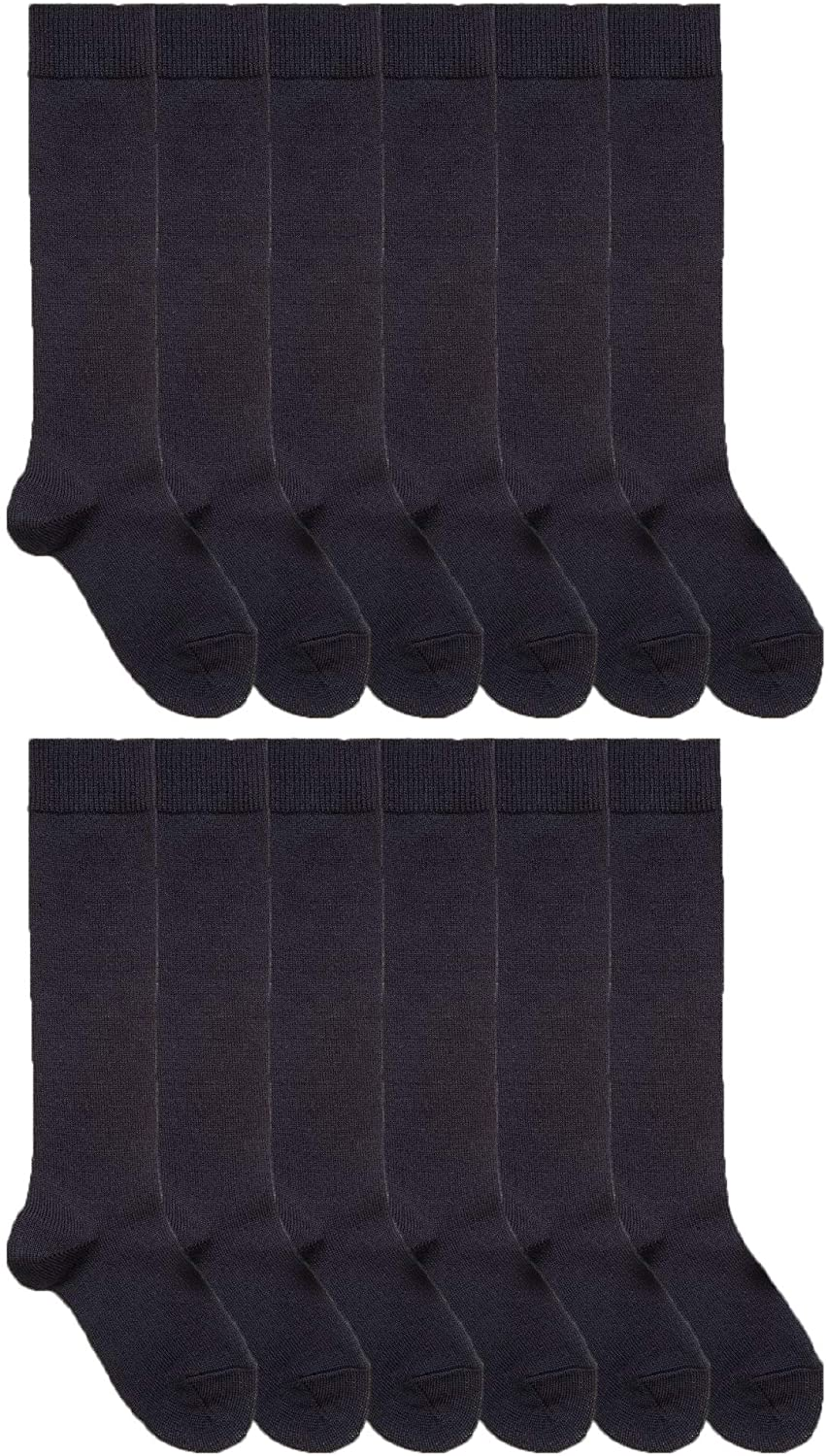 Yacht & Smith 12 Pairs of Cotton Long Knee High Socks for Women, Knee High Socks
