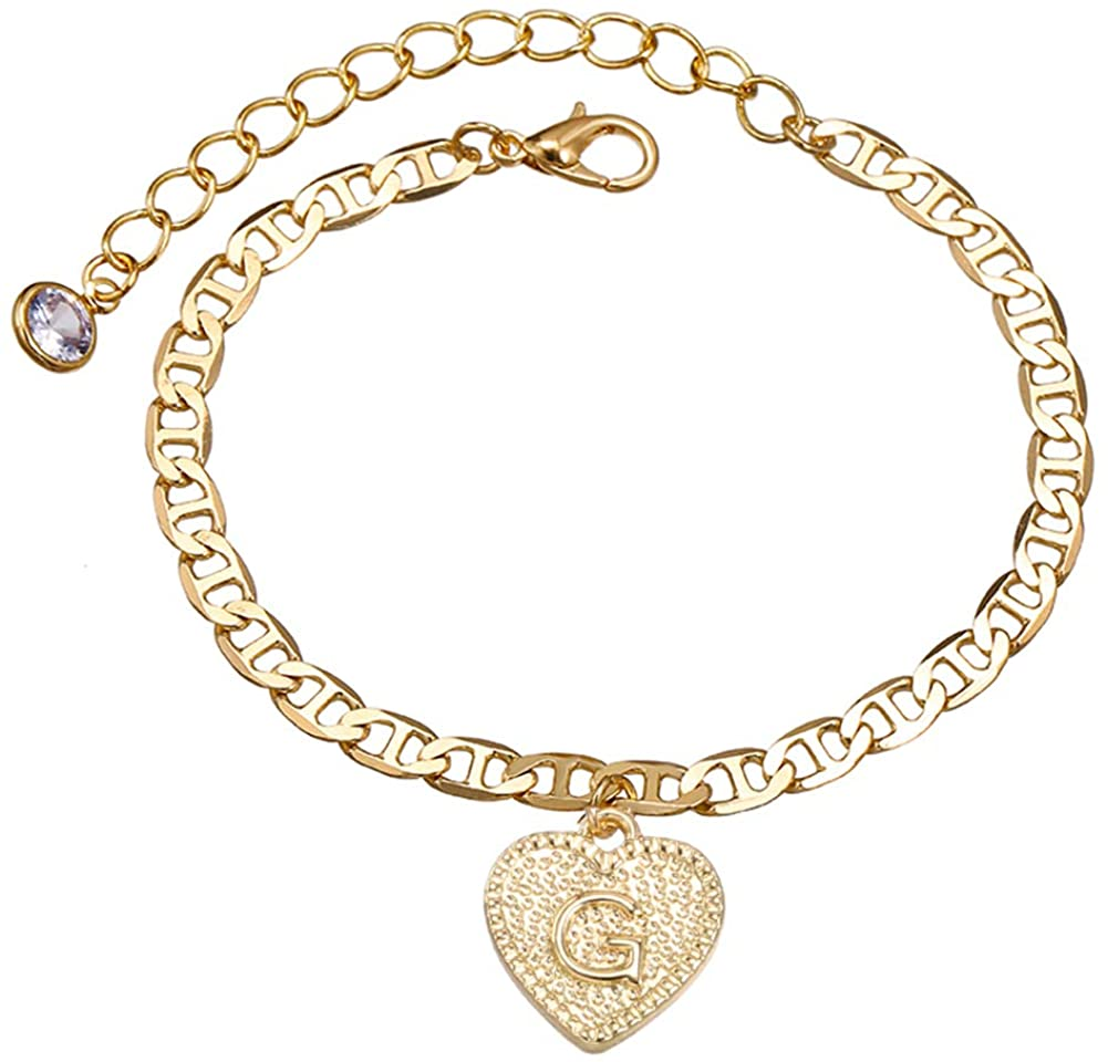 Dainty Heart Initial Bracelets Anklet- 14K Gold Plated Engraved 26 Letters Alphabet Initial Charm Bracelets Jewelry Gifts for Women Girls