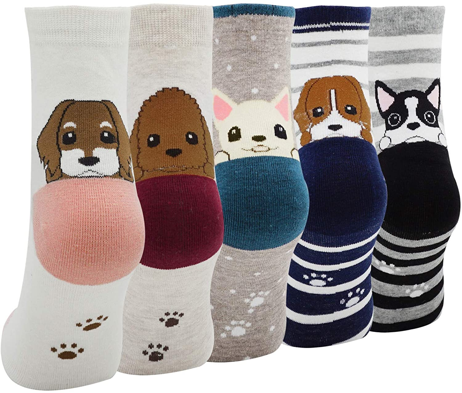 Lady's 5 Pack of Fashion Cartoon Dog Animals Cute Socks, Multicoloured