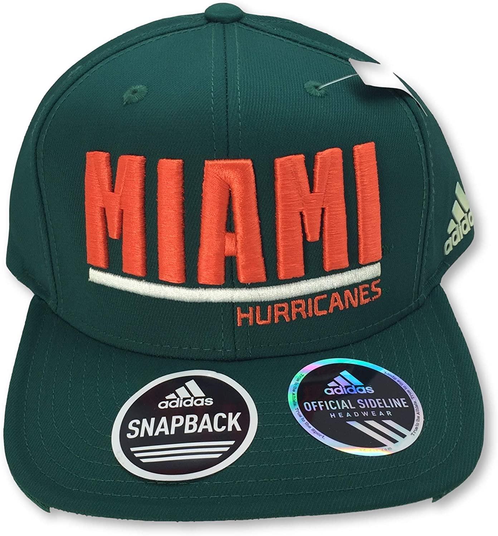 UM Canes Miami Hurricanes Climalite Flat Bill Snapback Adult Cap Hat