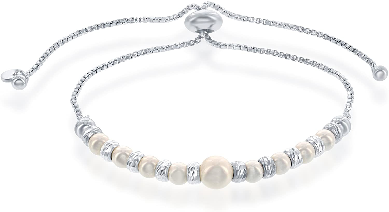 Italian Sterling Silver Alternating Diamond Cut Beads & Set with Swarovski Simulated Pearls Adjustable Bolo Friendship Bracelet