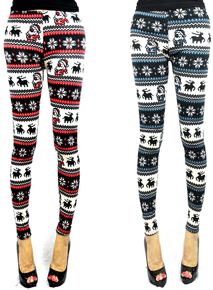 The Elixir Beauty Set of 2, Women Winter Wram Knitted Leggings Tight Pants Snow Flakes Reindeer Printed, One Size fits Most