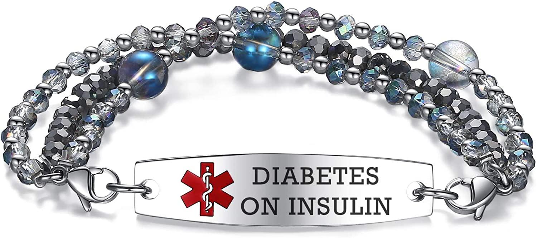 mnmoom Stylish Madam Medical Alert Bracelets Interchangeable Three-Strand Crystal Bead Band Medical id for Women