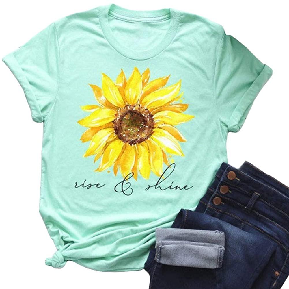 Bwogeeya Womens Cute Sunflower Graphic T Shirts Short Sleeve Loose Summer Cotton Tees Tops