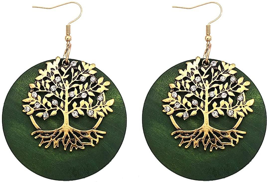 Aijian Womens Wooden Eardrop/Alloy Combination Earrings/Cutout Tiered Dangle Drop Earrings (Color-G)