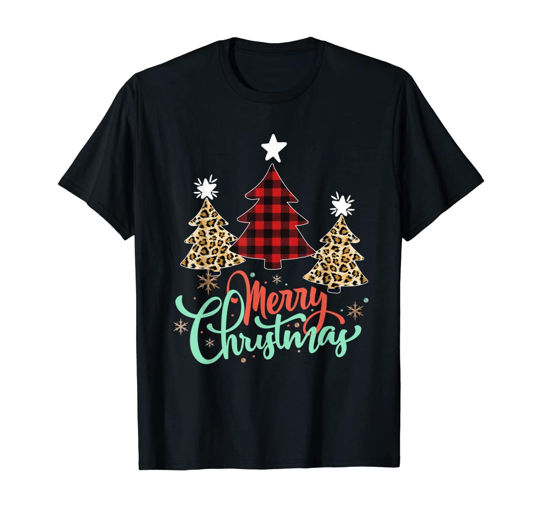 Women Leopard Plaid Christmas Tree Merry Christmas T-Shirt