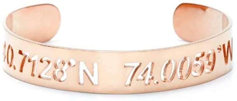 YAFEINI 925 Sterling Silver Personalized Coordinate Cuff Bracelet for Women