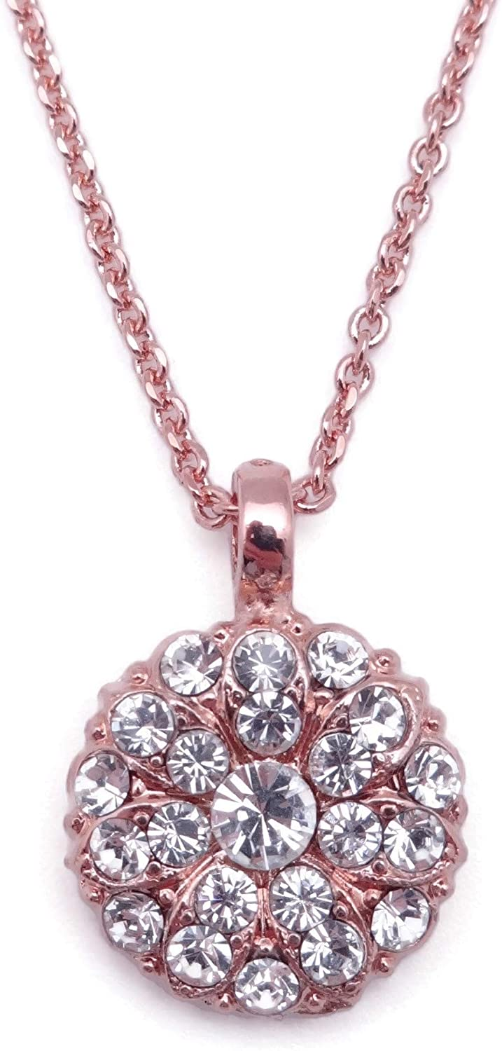 Mariana On a Clear Day Guardian Angel Clear Swarovski Crystal Rose Goldtone Pendant Necklace 001001