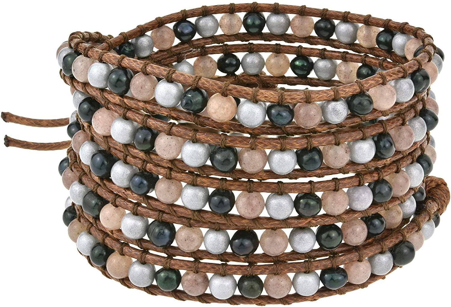 AeraVida Bohemian Twilight Quartz and Cultured Freshwater Pearl Cotton Snake Cord Rope Wrap Bracelet