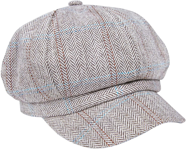 Women's Newsboy Hats Cabbie Bakerboy Paperboy Plaid Cap Beret