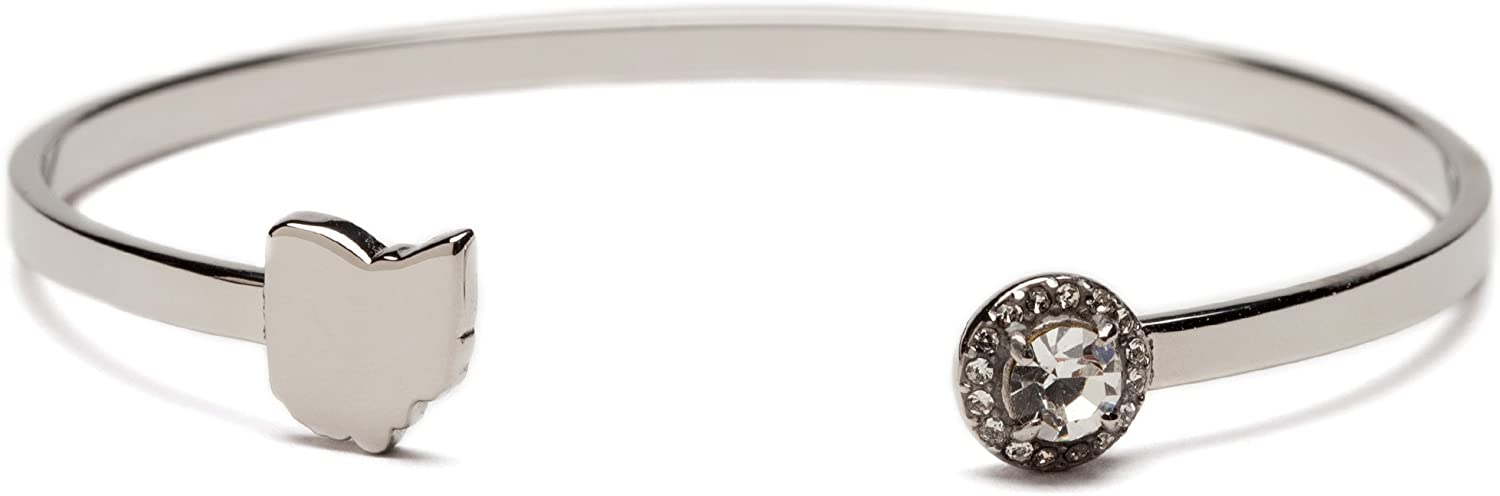 Love Ohio Map Bangle Bracelet with Crystal - Stainless Steel