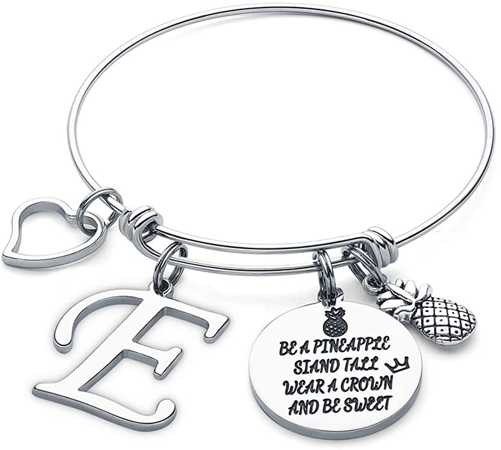 M MOOHAM Initial Charm Bracelet Elephant Llama Pineapple Horse Gifts for Women Girls, Engraved Quote Charm Bracelet Jewelry Gifts