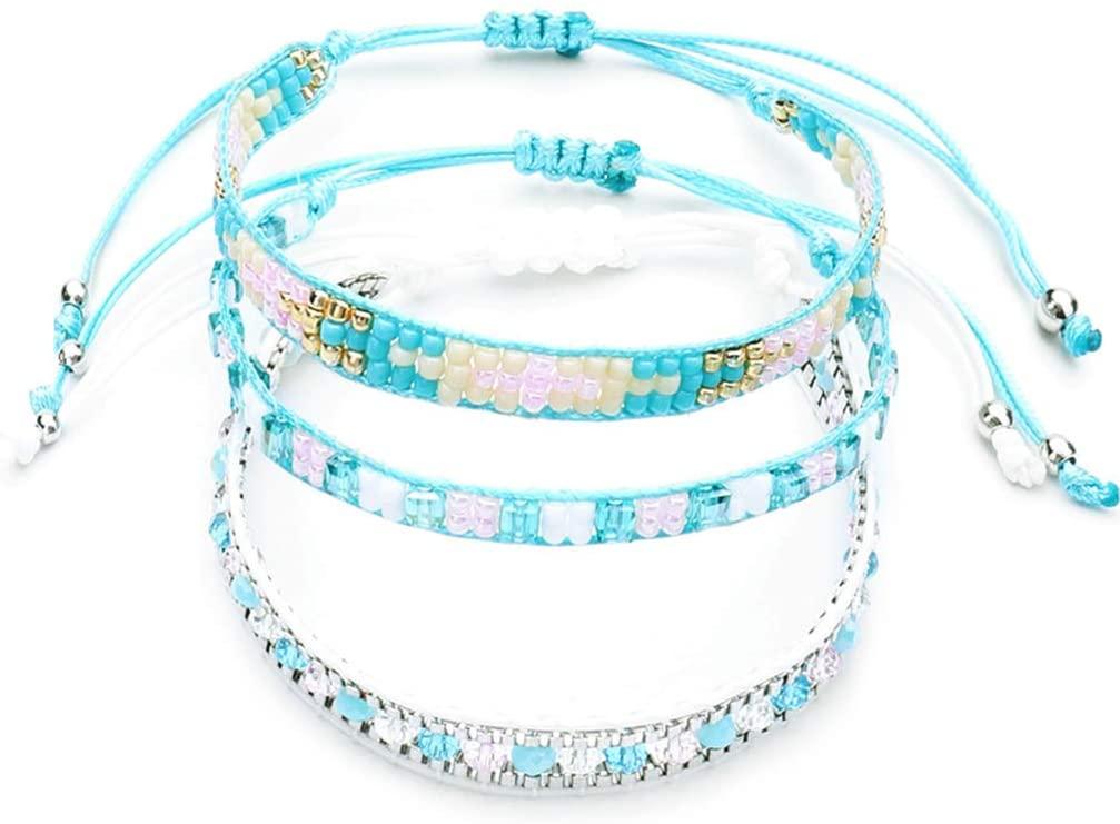 minansostey 1 Set Fashion Boho Hand-Woven Bracelet, Set Ladies Women Simple Beaded Bracelets,Jewelry Gifts