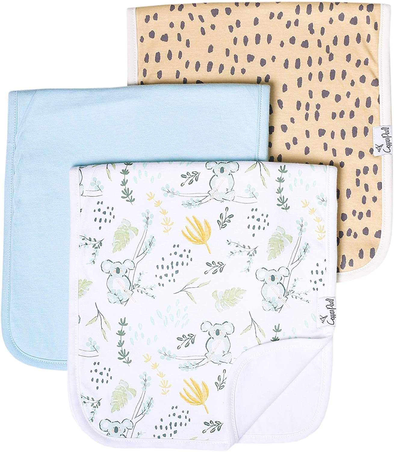 """Baby Burp Cloth Large 21''x10'' Size Premium Absorbent Triple Layer 3-Pack Gift Set """"Aussie"""" by Copper Pearl"""