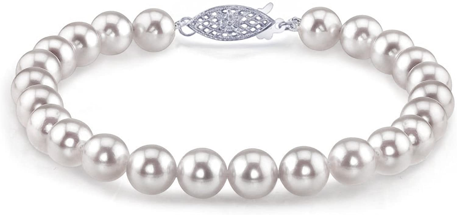 THE PEARL SOURCE 14K Gold 9-9.5mm AAA Quality Round White Japanese Akoya Saltwater Cultured Pearl Bracelet for Women