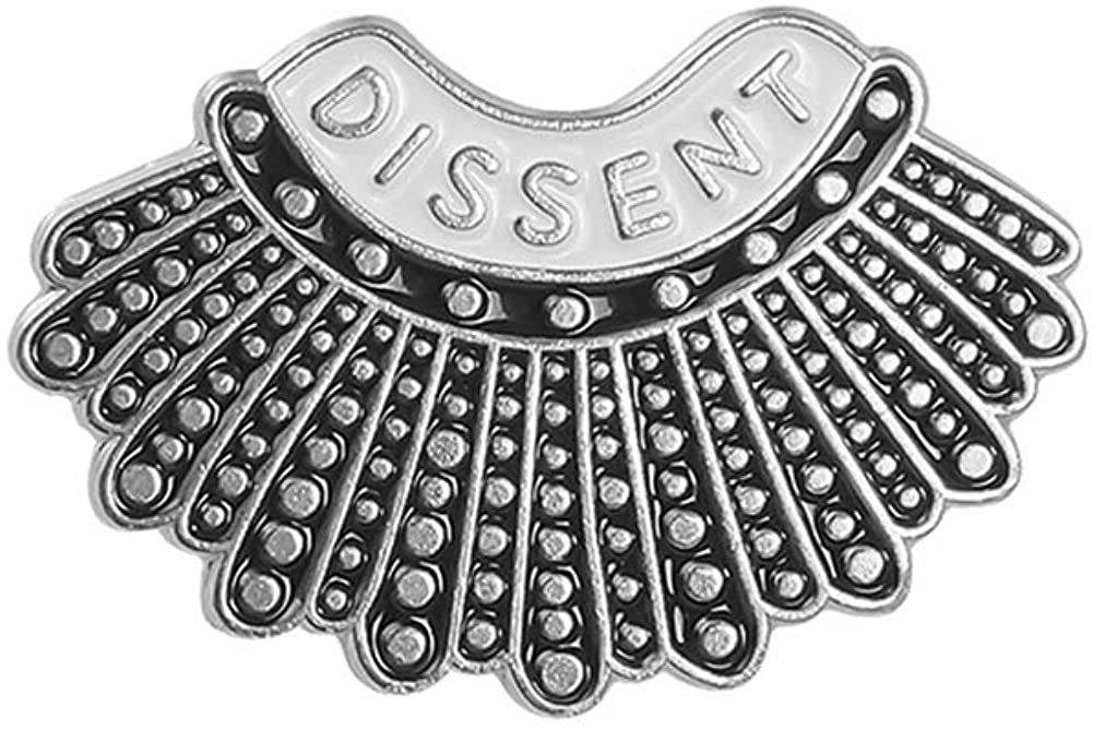 UCADRIT RBG Dissent Collar Brooch Pin Sterling Silver Fan of Ruth Bader Ginsburg Jewelry for Women
