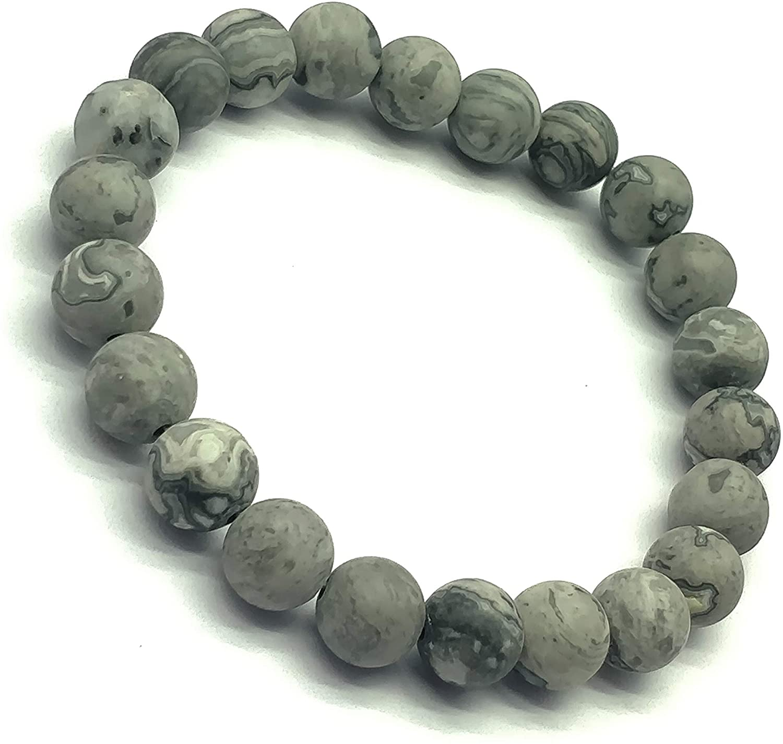Grey obsidion Beaded Bracelet, Stretch Bracelet, Women's Jewelry, Boho Jewelry, Natural Stone, Yoga Bracelet.