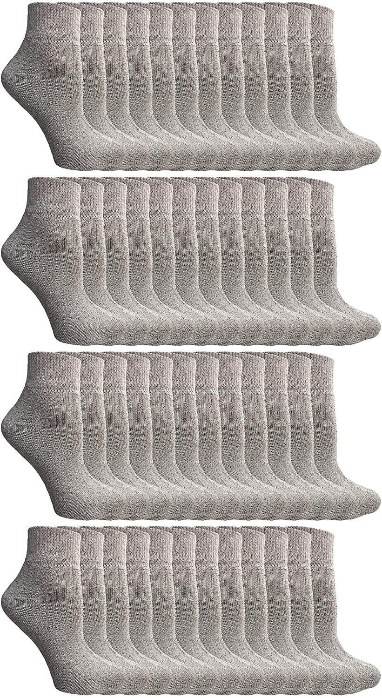 SOCKS'NBULK 60 Pairs of Women's Ankle Socks, Wholesale Bulk Pack Athletic Sports Socks (Black)