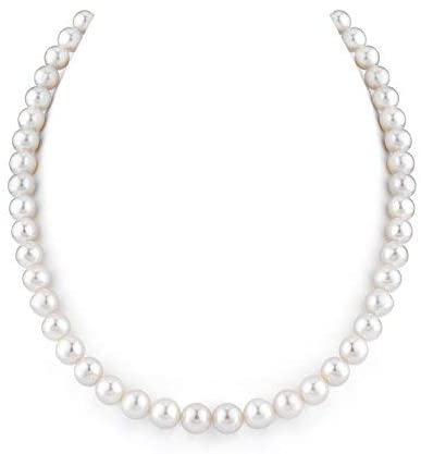 THE PEARL SOURCE 14K Gold 8-9mm AAAA Quality White Freshwater Cultured Pearl Necklace for Women in 16