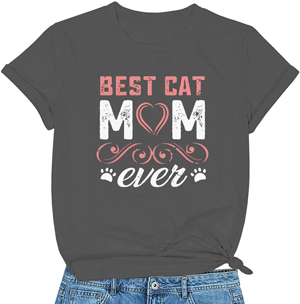 Womens Best Cat Mom Ever Funny Tee Top, Cat Lovers T-Shirt