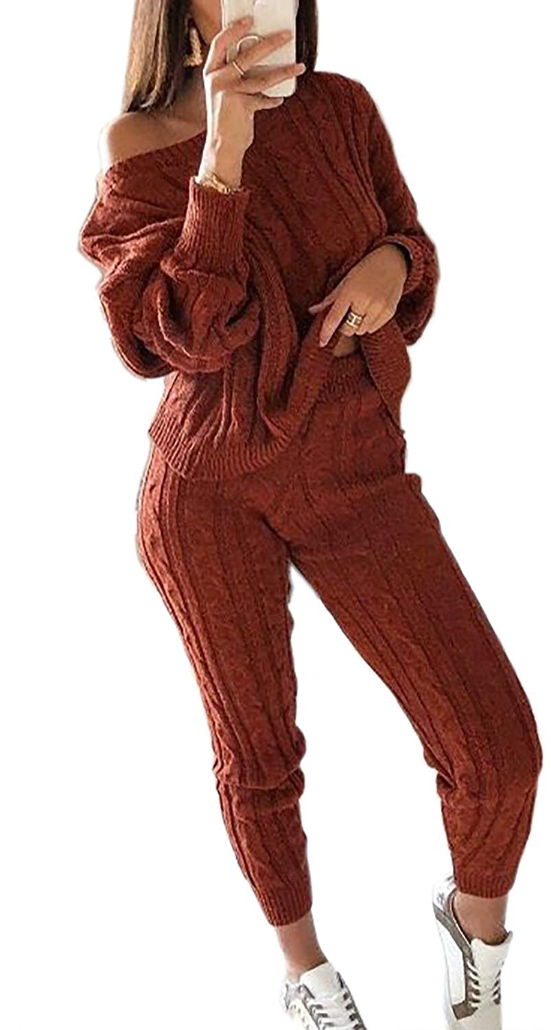 Womens Fall Knit 2 Piece Outfits Sweater Shirt Top and Bodycon Pants Casual Jumpsuit Romper Plus Size