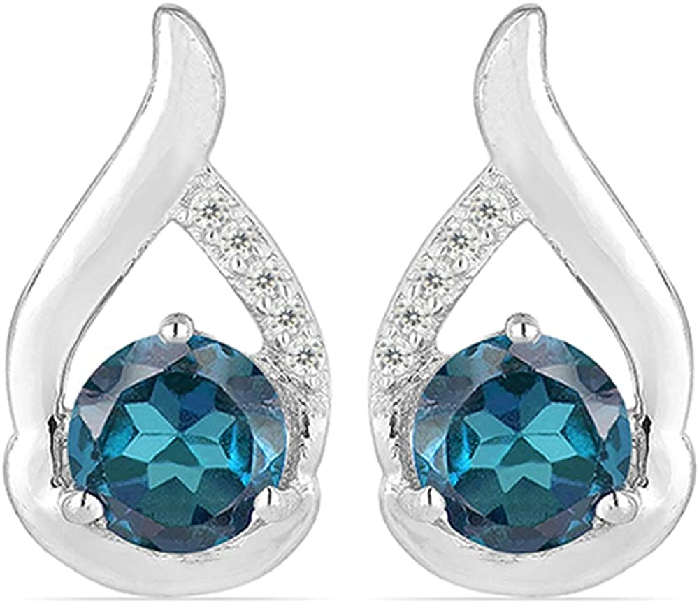 JewelPin Natural Gemstone Sterling Silver Flame Earrings for Women